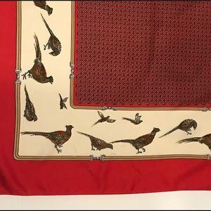VINTAGE Pheasant Pattern Silk Scarf